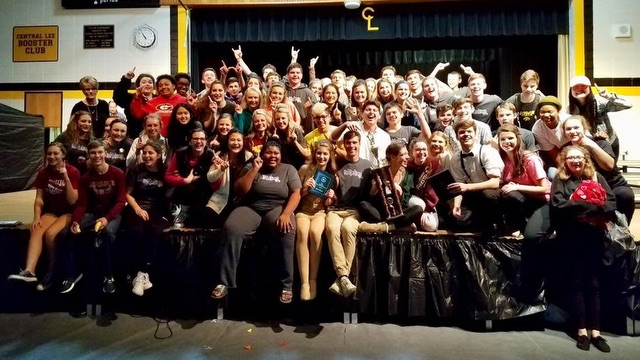 Mt. Pleasant High School's ''In Motion'' celebrate their Grand Champion win at Central Lee